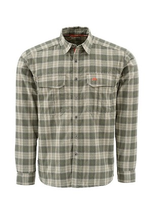 Simms Coldweather Flannel Shirt - Olive Plaid